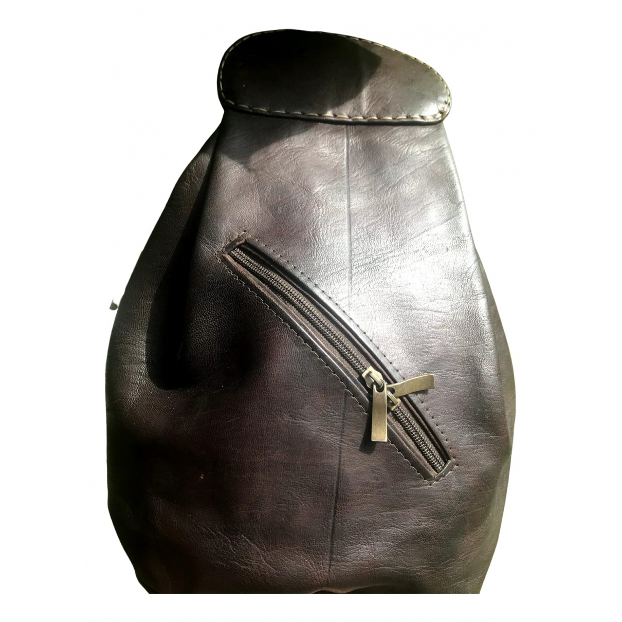 Non Signé / Unsigned \N Brown Leather backpack for Women \N