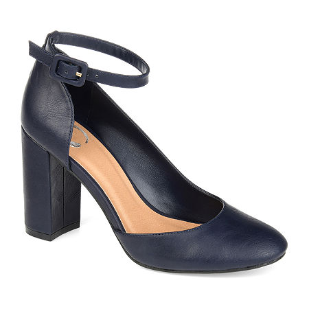 Journee Collection Womens Raveen Buckle Round Toe Block Heel Pumps, 7 1/2 Medium, Blue