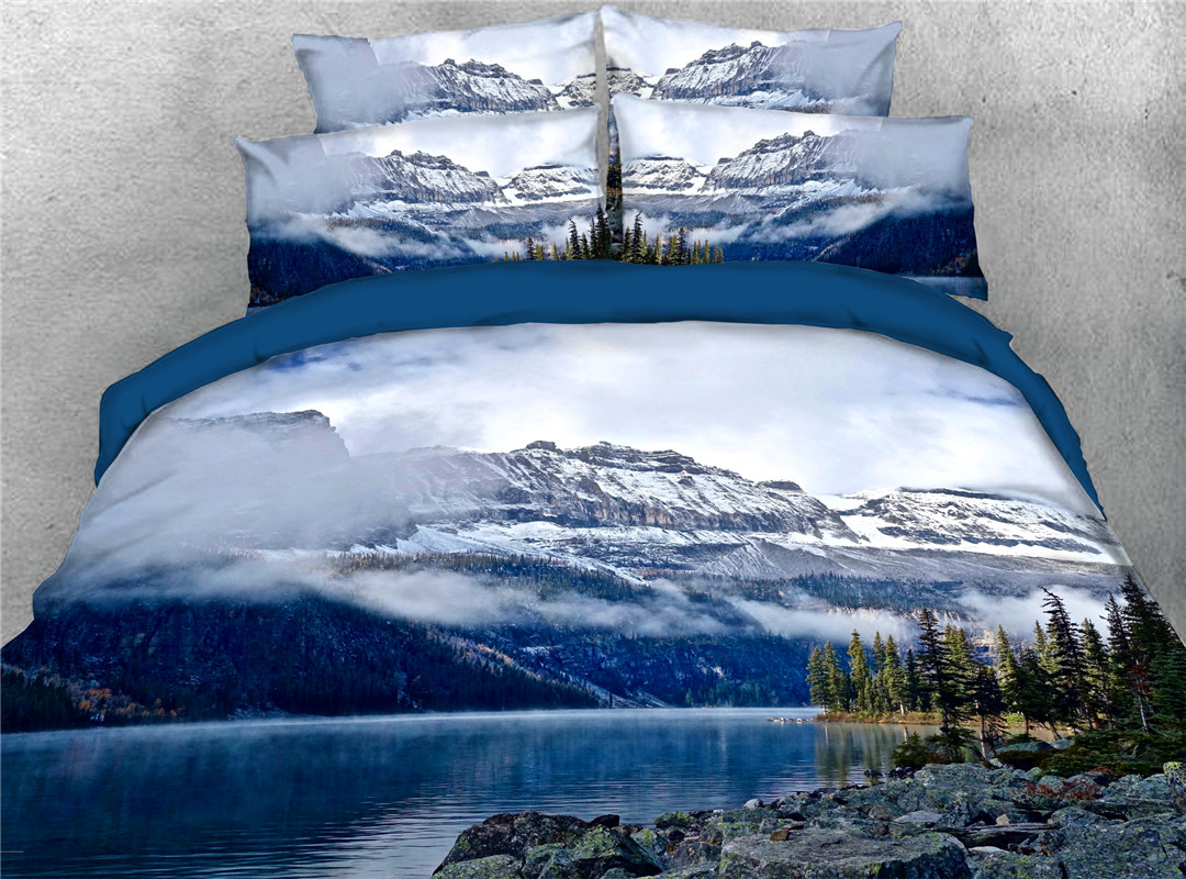 Mountain Landscape Comforter Set Machine Wash Five-Piece Set Polyester Bedding Sets