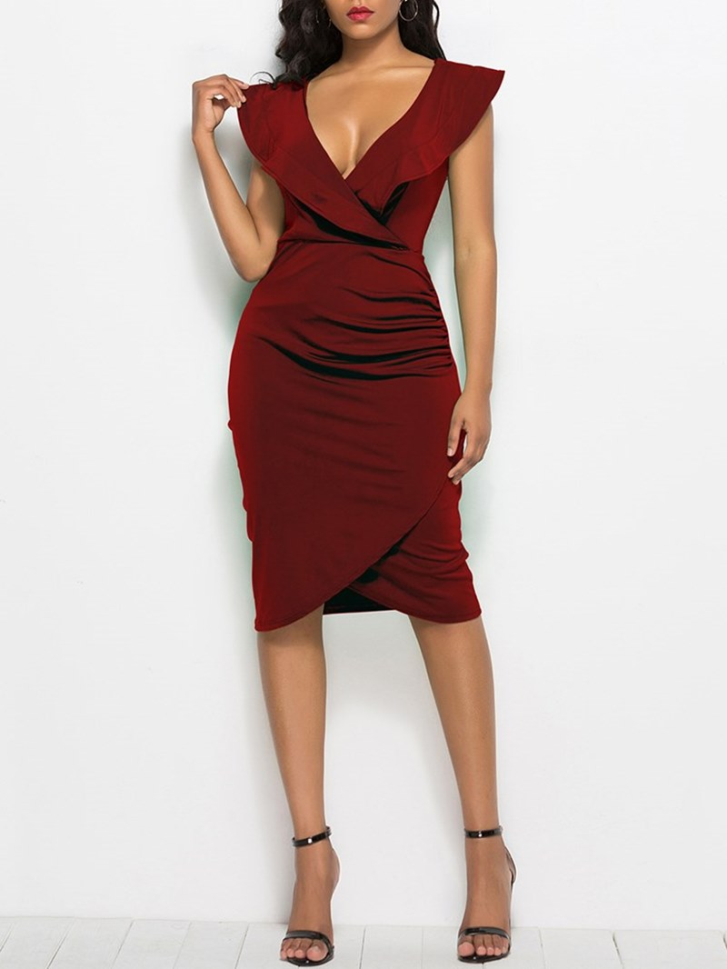 Ericdress Bodycon V-Neck Ruffles Women's Dress