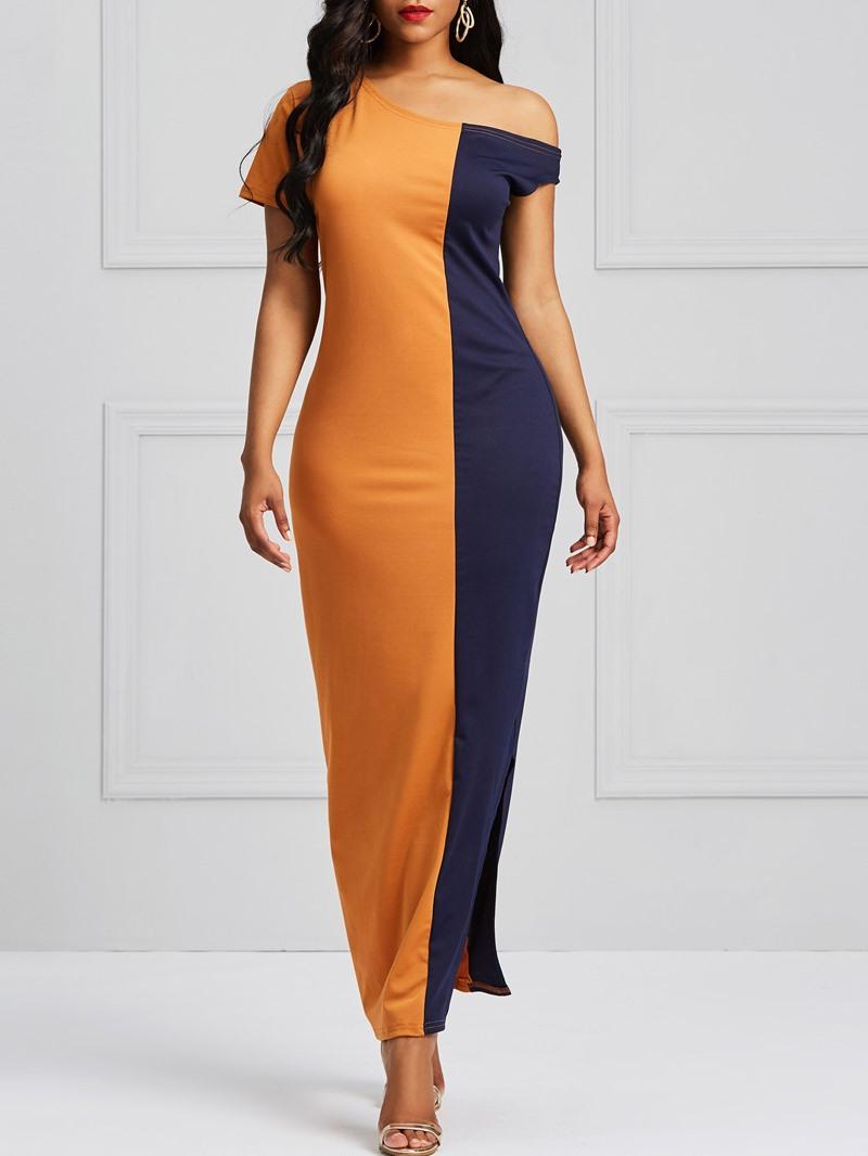 Ericdress Color Block Bodycon Split Women's Dress