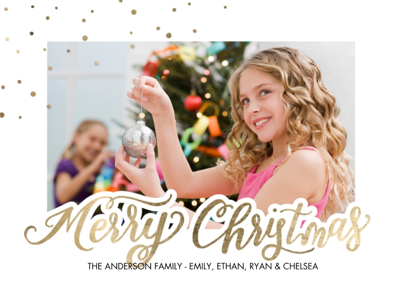 Christmas Photo Cards Flat Glossy Photo Paper Cards with Envelopes, 5x7, Card & Stationery -Christmas Sparkling Dots Corner