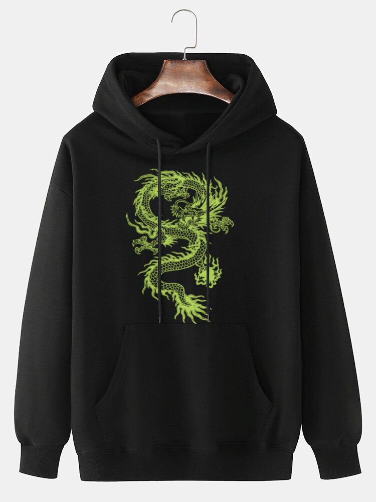 Mens 100% Cotton Dragon Printed Drop Shoulder Kangaroo Pocket Drawstring Hoodies