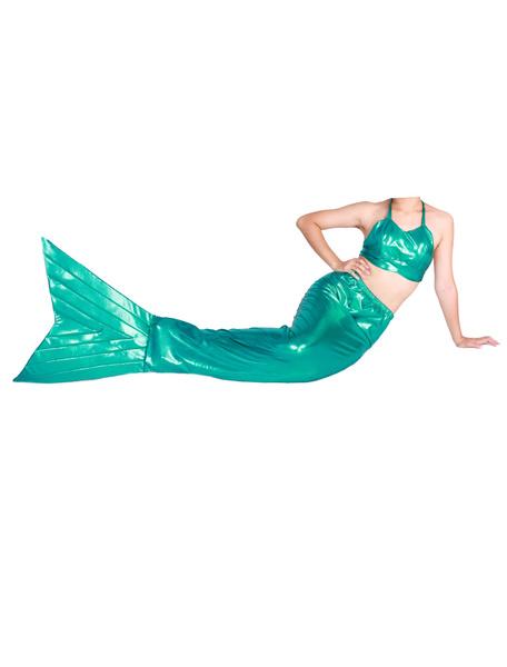 Milanoo Halloween Green Shiny Metallic Tail Mermaid Trendy Animal Zentai Halloween