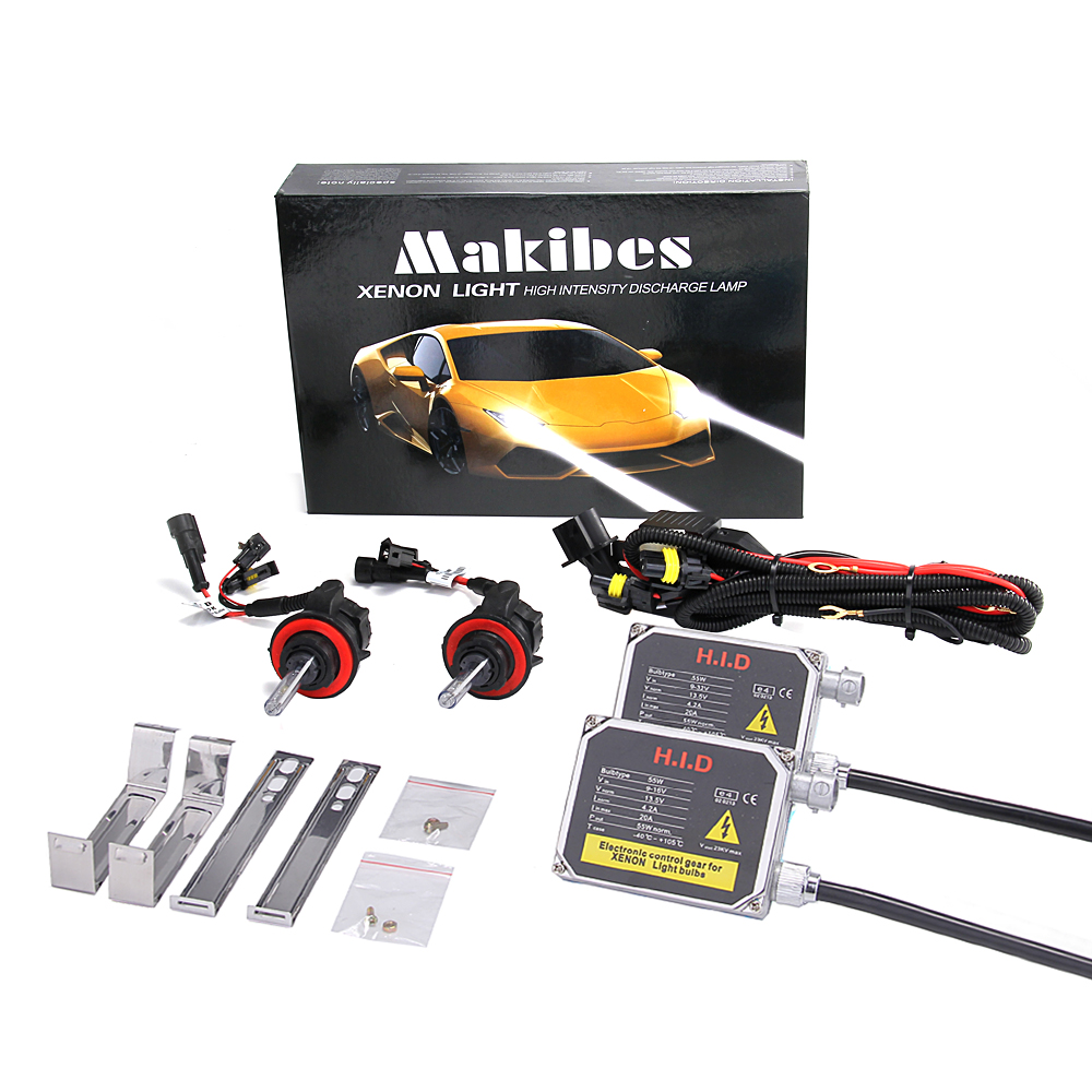 Makibes 6000K H13-3 55W 12V Xenon HID Kit Car Headlight Xenon Bulb Slim Ballast - Black + Silver