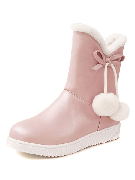 Milanoo Women Ankle Boots Fur Trim For Christmas Pom Poms Flat Booties