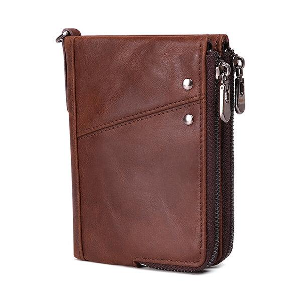 RFID Men Genuine Leather 10 Card Slot Wallet Double Zipper Coin Purse