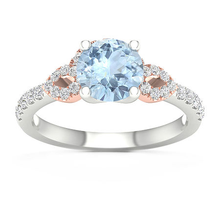 Modern Bride Gemstone Womens 1/4 CT. T.W. Genuine Blue Aquamarine 10K Rose Gold Round Engagement Ring, 6 , No Color Family