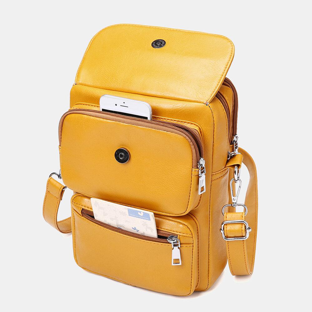 Women Zipper PU Solid Casual Crossbody Bag Shoulder Bag