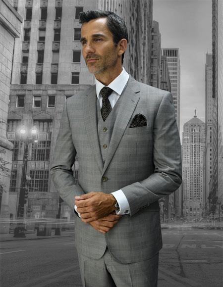 Men's Statement Plaid Double Breasted Vest Tan 2 Button Suit