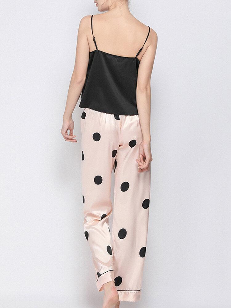 Women Pajamas Sets Lace Trim Smooth Spaghetti Straps Sleepwear With Polka Dot Long Panty