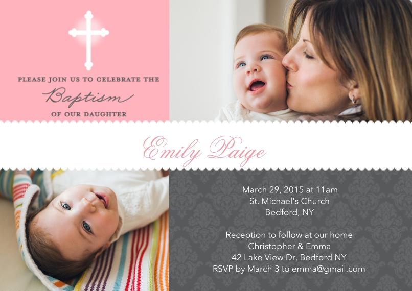 Christening + Baptism 5x7 Cards, Premium Cardstock 120lb with Elegant Corners, Card & Stationery -Baptism Scallop Banner Pink