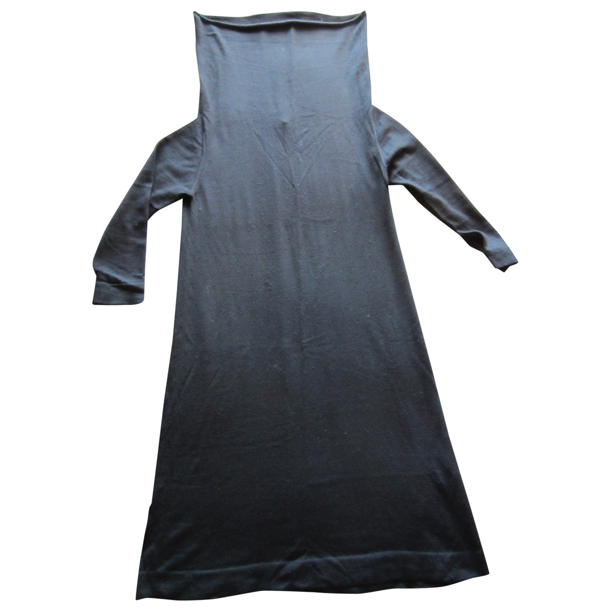 Non Signé / Unsigned Oversize Black Wool dress for Women 46 IT