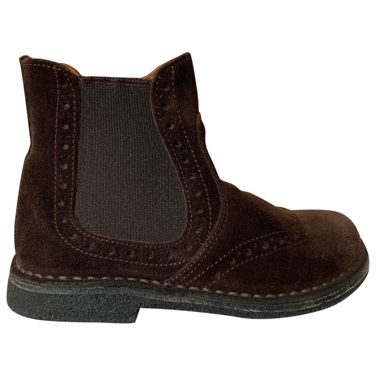 Non Signé / Unsigned \N Brown Suede Boots for Kids 24 EU