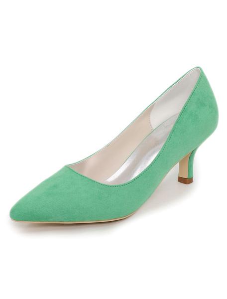 Milanoo Blue Kitten Heels Women Suede Shoes Pointed Toe Slip On Pumps