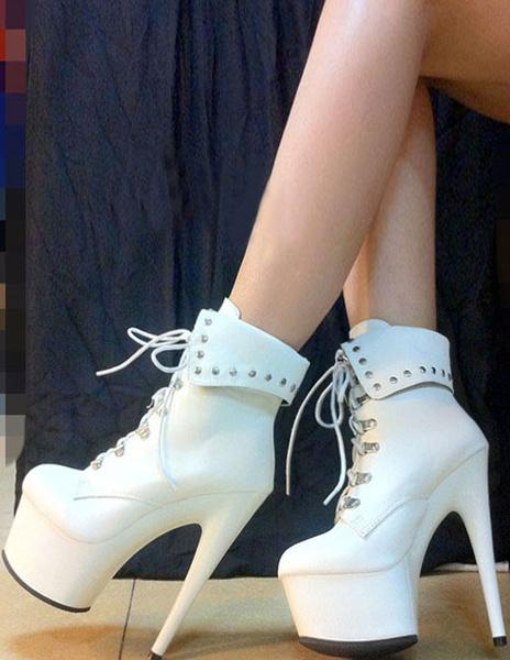 Milanoo High Heel Booties Black Platform Round Toe Lace Up Ankle Boots Women Combat Boots