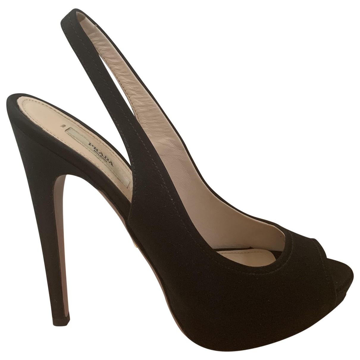 Prada \N Black Cloth Heels for Women 39 EU