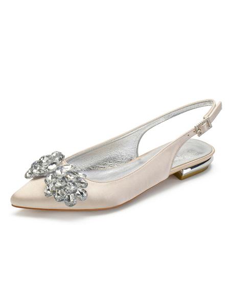 Milanoo Ivory Wedding Shoes Satin Pointed Toe Rhinestones Flat 0.6 Bridal Shoes