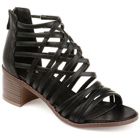 Journee Collection Womens Diya Pumps Block Heel, 7 1/2 Medium, Black