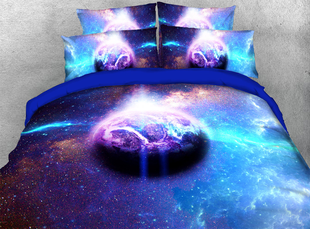 Light Galaxy 3D 4pcs Animal No-fading Bedding Sets Soft Durable Zipper Duvet Cover with Non-slip Ties