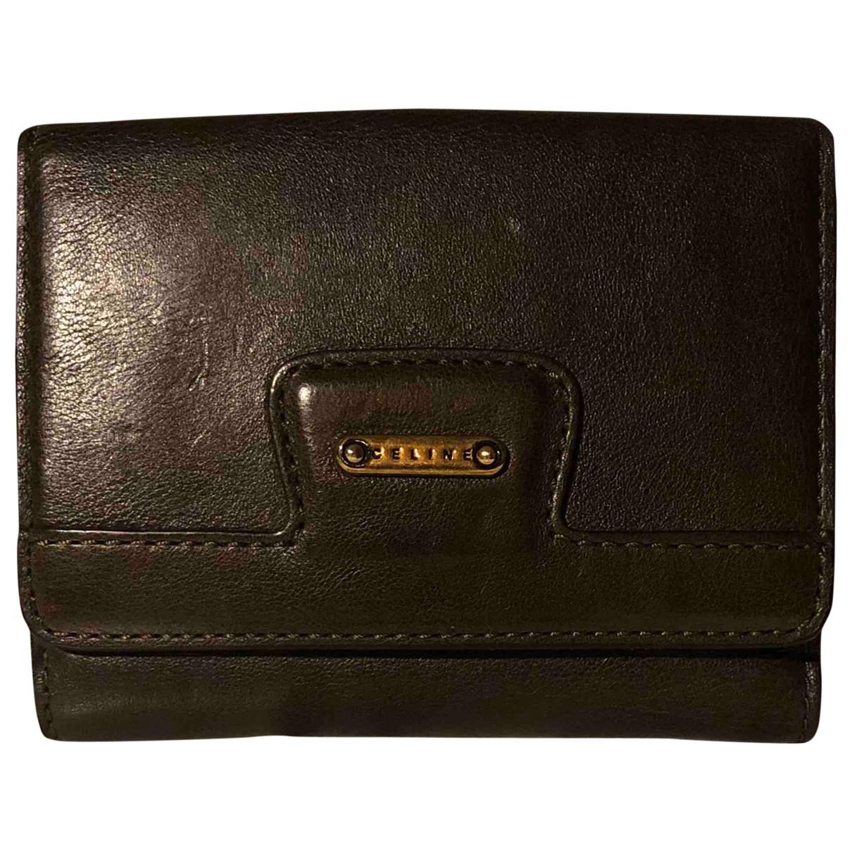 Celine \N Khaki Leather wallet for Women \N