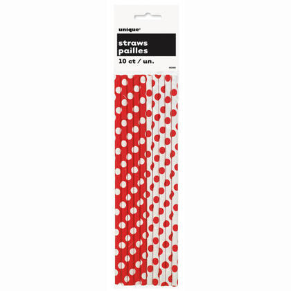 Party Paper Drinking Straws Decorative Dots Ruby Red 10Pcs