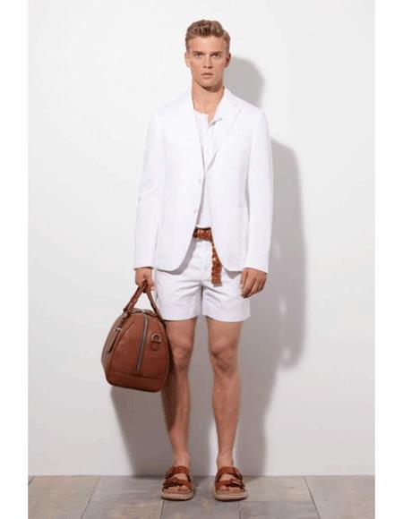 Mens Summer Business Suits Shorts Pants Set (Sport Coat Looking) White