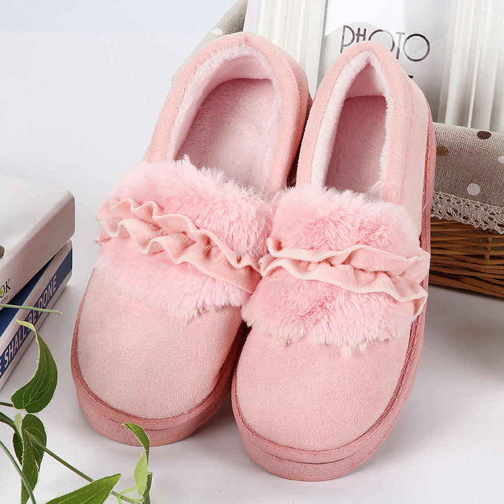 Furry Suede Slip On Keep Warm Home Flat Shoes