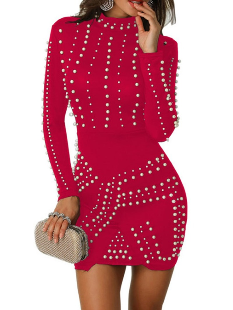 Ericdress Bead Above Knee Long Sleeve Fashion Bodycon Dress