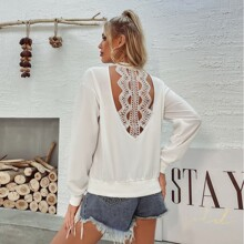 Guipure Lace Cut Out Back Sweatshirt