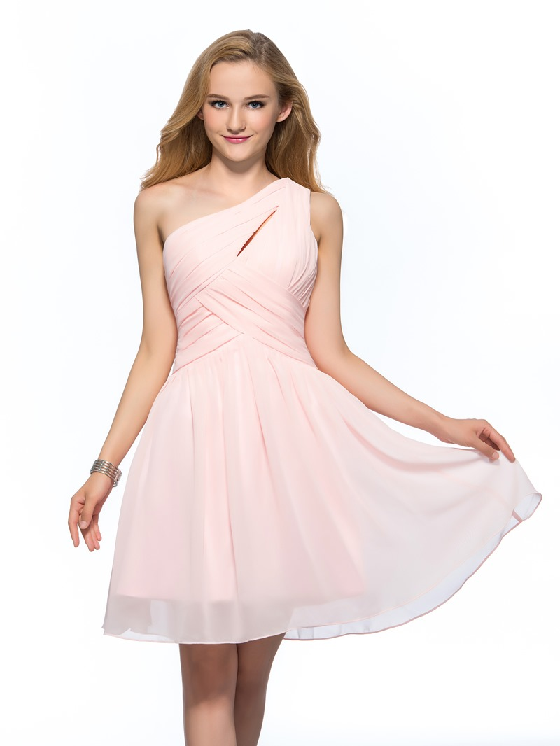Ericdress One Shoulder Pleats Pearl Pink Homecoming Dress