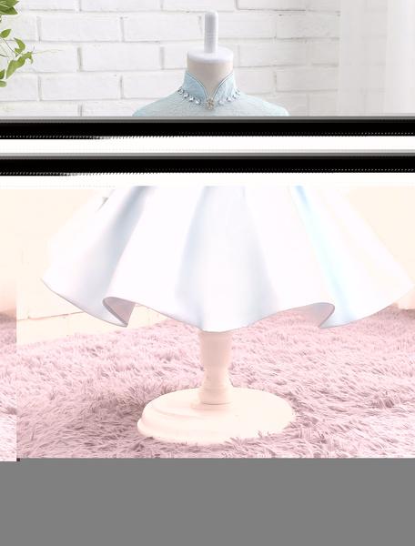 Milanoo Satin Flower Girl Dress Pastel Blue Lace Beading Bow Sash Mandarin Collar Three Quarter Sleeve Short Tutu Dress