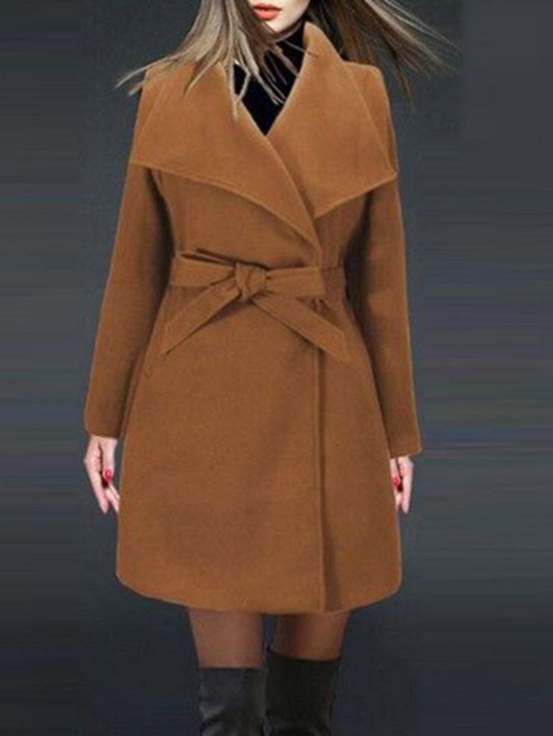 Ericdress Lace-Up Lapel Belt Long Sleeves Coat