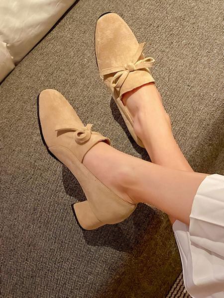 Milanoo Block Heel Pumps Retro Square Toe Low Heels Woman Shoes