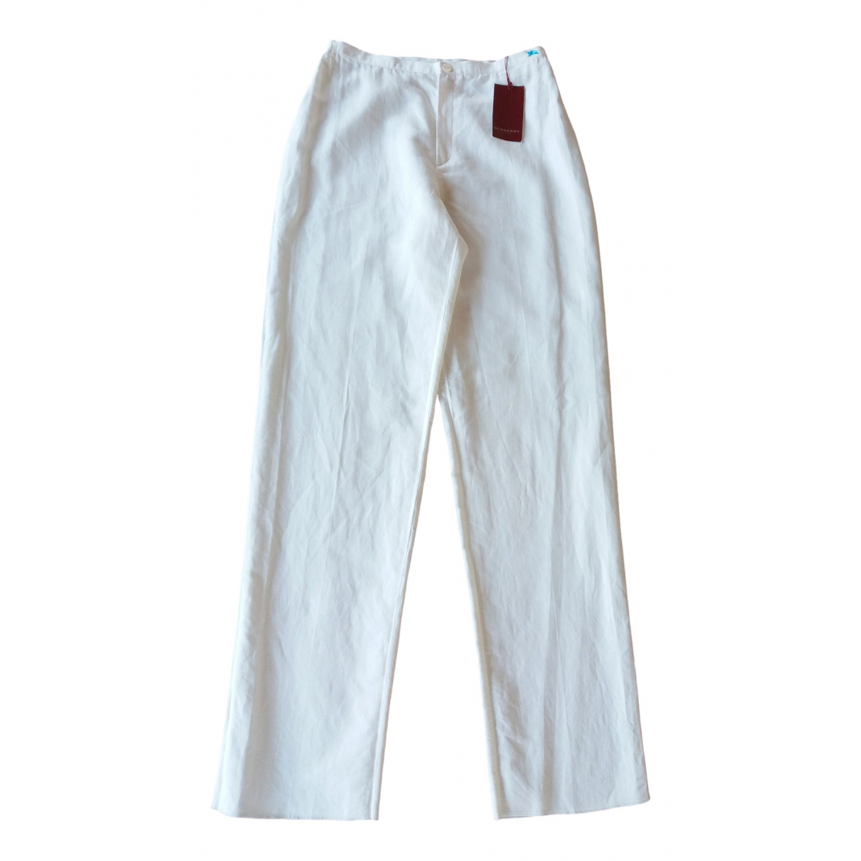 Burberry \N White Linen Trousers for Women 42 FR