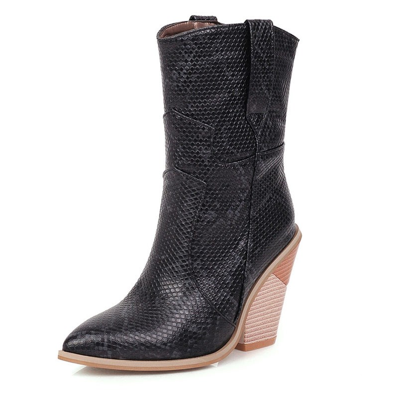Ericdress Serpentine Slip-On Color Block Pointed Toe Women's Boots