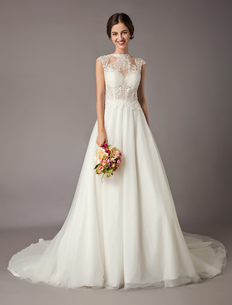 Milanoo Wedding Dresses Ivory Lace Tulle Sequin Illusion Beading Chapel Train Bridal Gowns