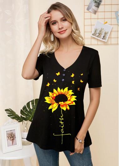 V Neck Sunflower Print Short Sleeve T Shirt - S