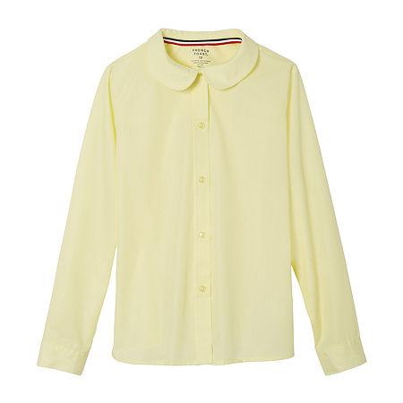 French Toast Little & Big Girls Long Sleeve Button-Down Shirt, 12 , Yellow