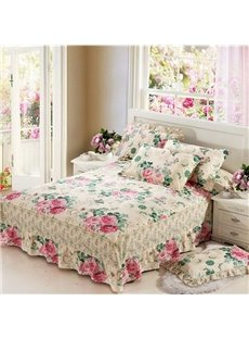 Pastoral Style Flower Design Cotton Bed Skirt