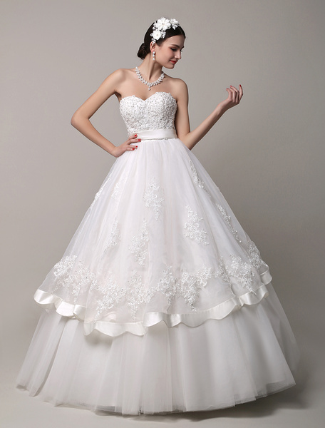 Milanoo Sweetheart Beaded Prices Wedding Dress with Scalloped Edge Lace Skirt