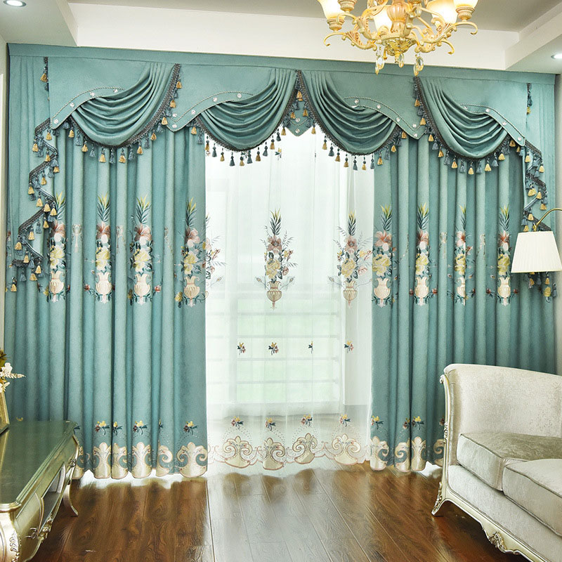 Elegant European Floral Embroidery Shading Curtains for Living Room Custom 2 Panels Drapes No Pilling No Fading No off-lining