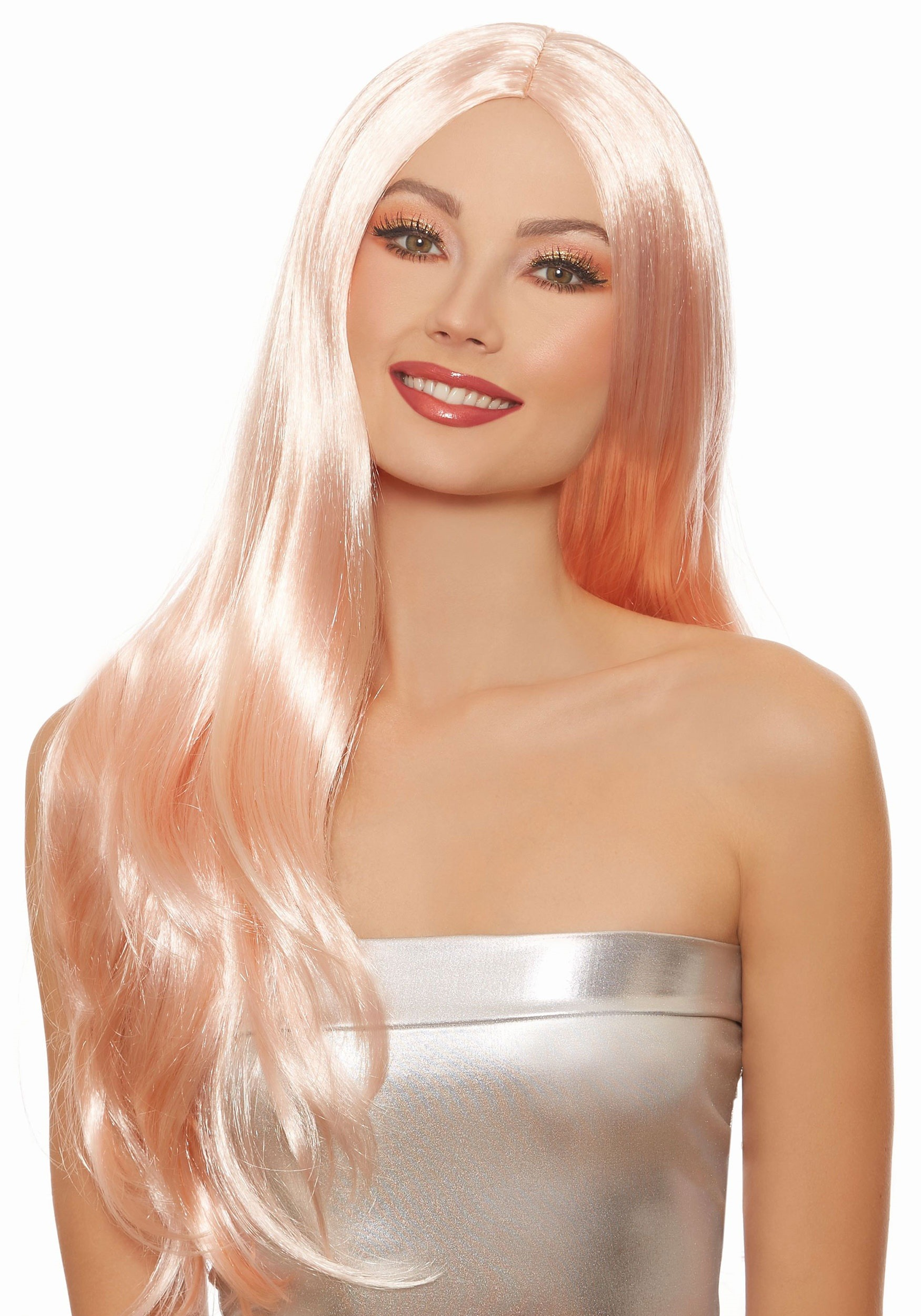 Long Straight Rose Gold Wig