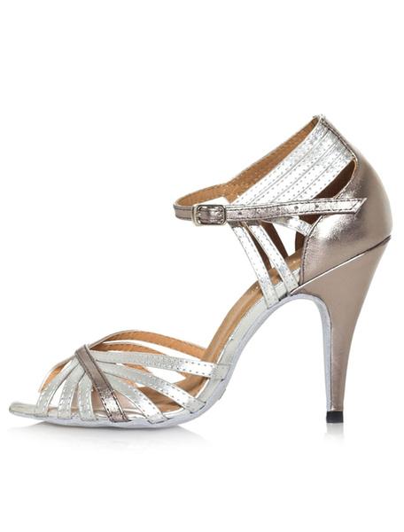 Milanoo Black Dance Sandals Cut Out PU Heels For Women Silver Height 10cm Black Height 8.5cm