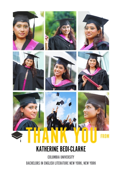 Graduation Thank You Cards Flat Matte Photo Paper Cards with Envelopes, 5x7, Card & Stationery -The Grad Event Squares Thank You