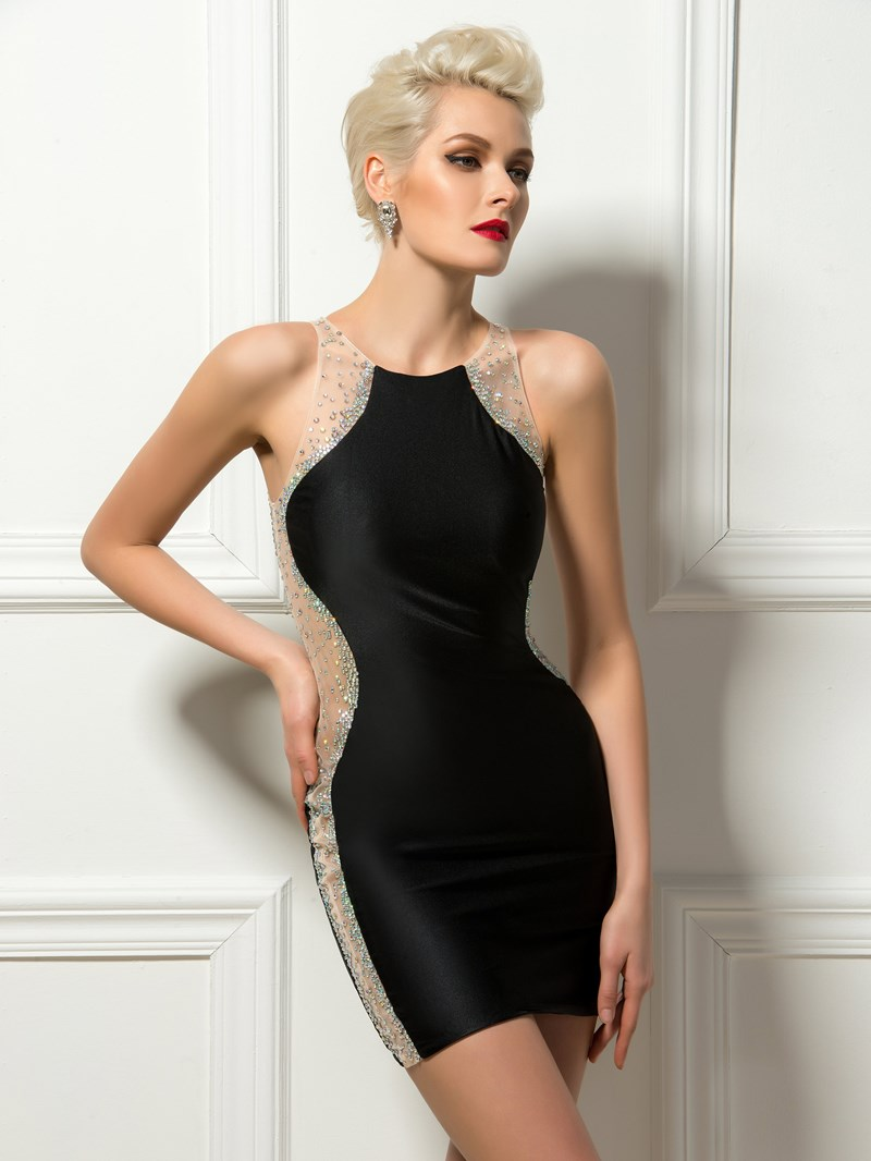 Sexy Sheath Jewel Neck Beading Mini Black Cocktail Dress