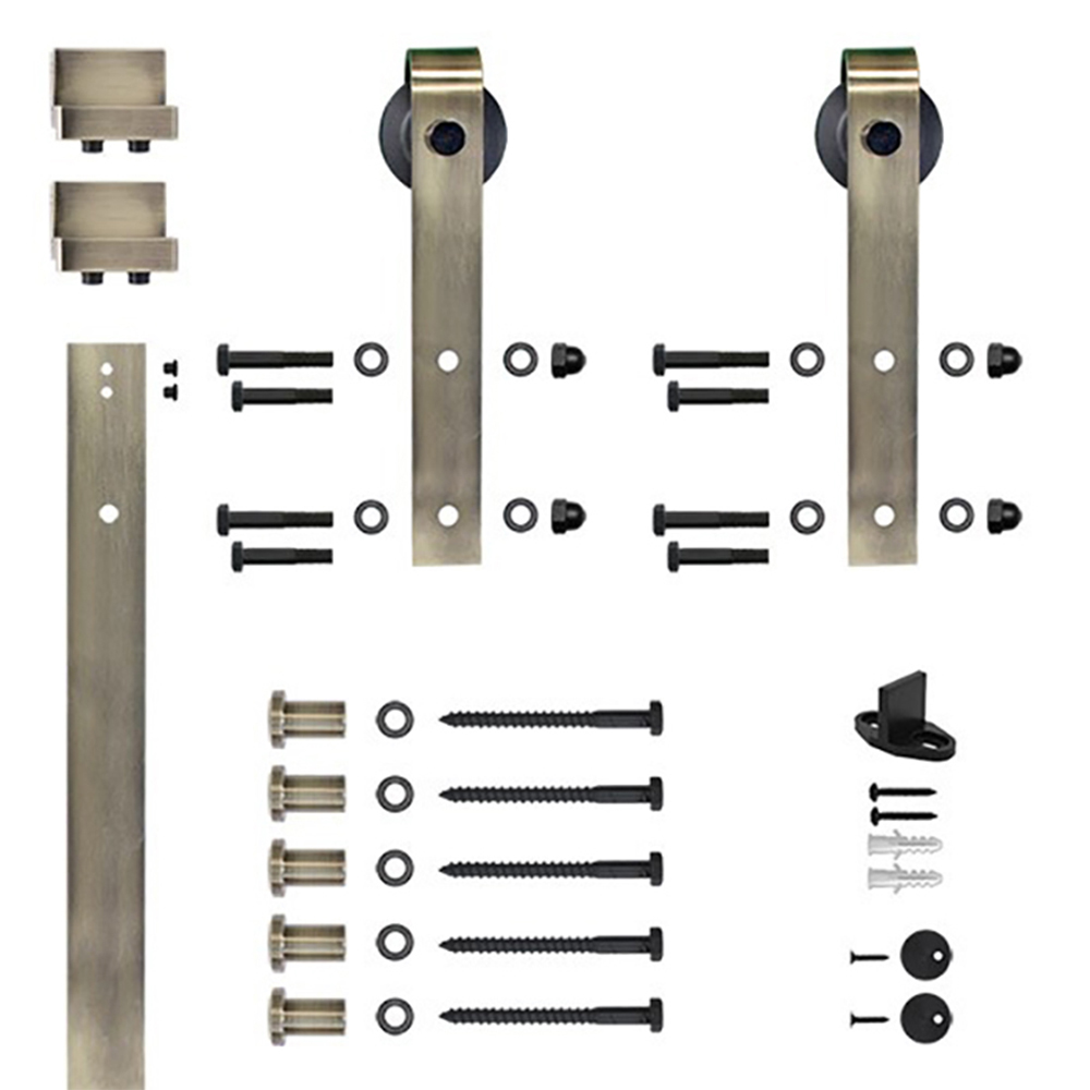 96 in. Antique Brass Hook Strap Rolling Door Hardware Kit for Wood Door