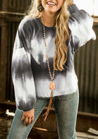 Gradient Tie Dye O-Neck Sweatshirt - White