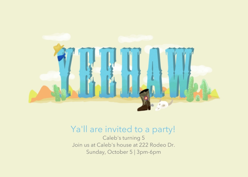 Kids Birthday Party Invites 5x7 Folded Cards, Standard Cardstock 85lb, Card & Stationery -YeeHaw Boy