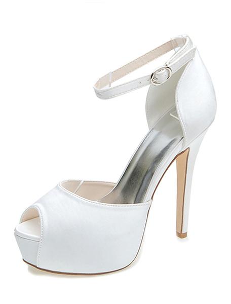 Milanoo Zapatos de novia de saten 12.5cm Zapatos de Fiesta Zapatos dorado  de tacon de stiletto Zapatos de boda de punter Peep Toe 3cm
